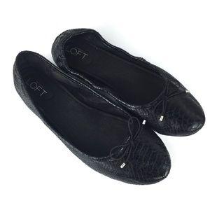 Ann Taylor LOFT Black Faux Snakeskin Ballet Flats